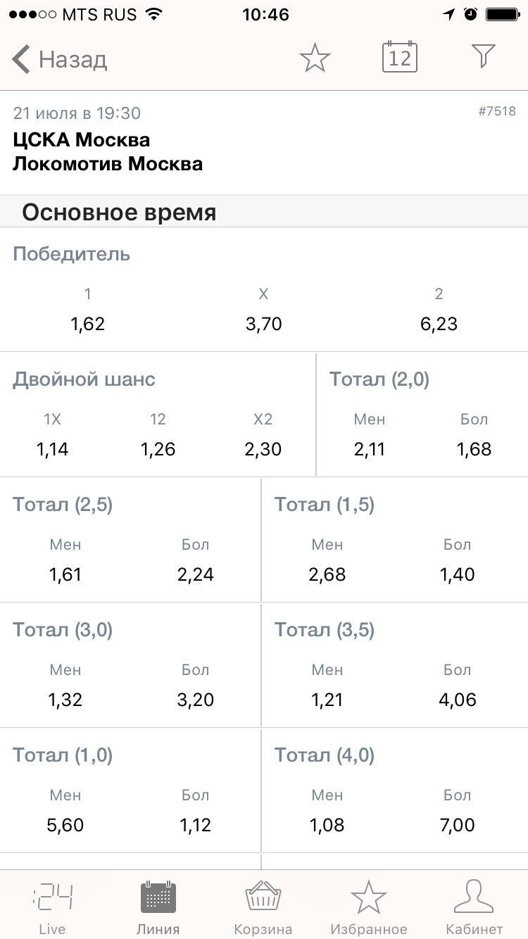 Лига Ставок iOS матч коэффициенты