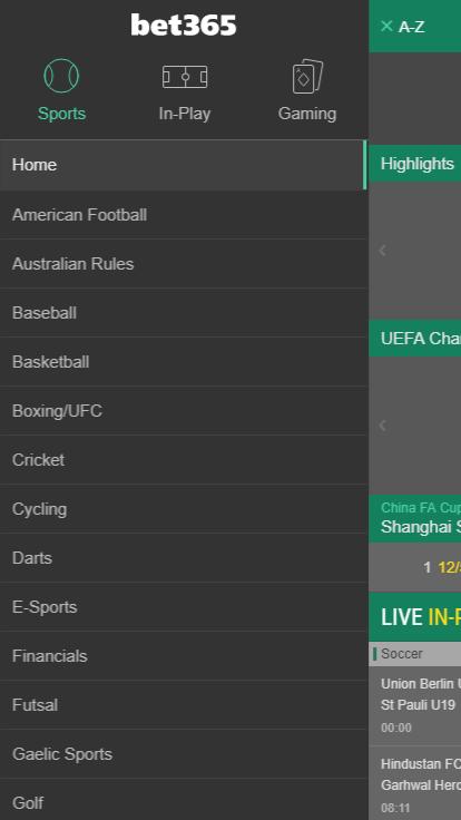 Мобильная версия bet365
